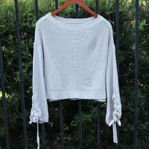 Hollister Cropped Lace Up Sleeve Sweater.